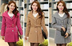 TC000800 Woolen long overcoat slim Korean style woolen coat