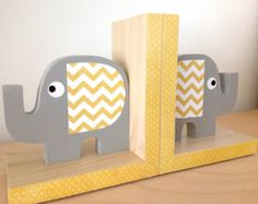 Elephant Bookends, Yellow and Gray,  eco-friendly by Maple Shade Kids