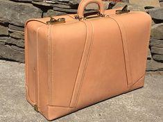 Vintage Blush Camel Leather Suitcase Suit Case Luggage Linen