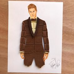 Men's wear made out of chocolate bars by Edgar Artis