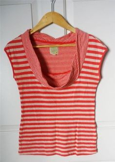 ANTHROPOLOGIE LITTLE YELLOW BUTTON sz M coral cream striped cowl s/s top   $23