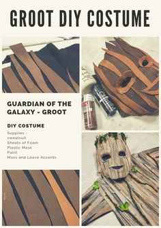 Easy DIY Galaxy of the Guardian Groot Costume. I made this for my grandson but i… Easy DIY Galaxy of the Guardian Groot Costume. I made this for my grandson but it can also work for an adult. Groot Costume For Kids, Groot Halloween Costume, Halloween Costumes Kids Boys, Boy Costumes, Halloween Diy, Group Halloween, Superhero Halloween, Kids Costumes Boys, Avengers