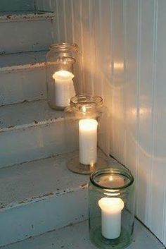 Candles in jars-simple and atmospheric decor for a minimalist home. - Decoration for House Candle Lanterns, Candle Sconces, Candle Jars, Mason Jars, Candle Holders, Creation Deco, Decoration, Light Up, Sweet Home