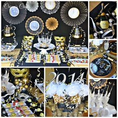 My inspiration for styling this NYE table came from Midnight Charade New Years Party Kit , a mix of black, gold and silver. New Years Party Themes, New Years Eve Decorations, New Years Eve Party, Masquerade Ball Party, Masquerade Theme, Nye Party, Party Time, 50th Party, Work Party