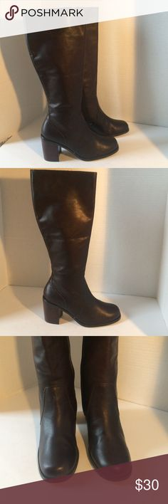 """Stunning Dark Brown Leather Boots Stunning boots in excellent condition/ These boots are amazing but not my size/ side zip closure/ base to top 19""""/ 2.5"""" heel / calf 15""""/ soles excellent condition KF Ltd Shoes Heeled Boots"""