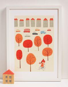 Autumn Story Print - Bicycle - Ekaterina's little shop is now open!