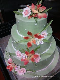 Round Wedding Cake, Sage Green with Flowers, 3 Tier