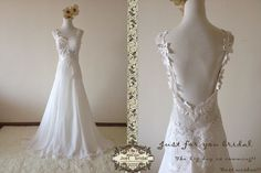 Sexy ivory backless sweetheart neckline florals by Justbridals, $399.00