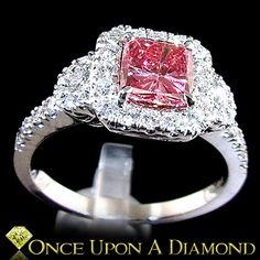18K White Gold 1.78c Fancy Pink Diamond Engagement Ring. This is just about perfection. I need to stop looking bc it's making me want one RIGHT NOW!!!