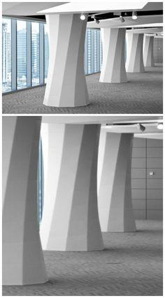 Housing Authority in Abu Dhabi, United Arab Emirates Interior Columns, Interior Walls, Contemporary Architecture, Interior Architecture, Granite Edges, Column Wrap, Cladding Design, Pillar Design, Column Design