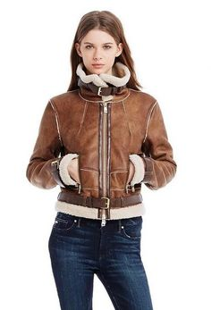 Details about New Armani Exchange Womens Shearling Bomber Jacket ...