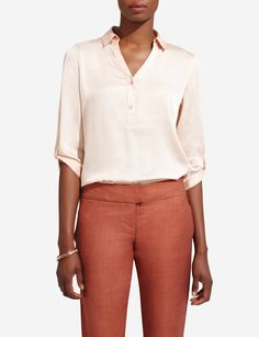 Point Collar Popover Blouse | Women's Tops | THE LIMITED