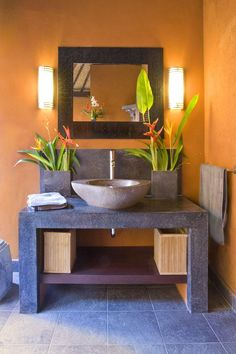 Balinese style powder room. via Tere Blond. I'll have this color palette in the second bathroom and the black and white in the first.
