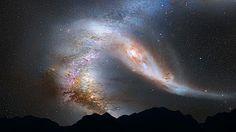 Wenn einmal Andromeda die Michstrasse erreicht hat (Nachthimmel in 4 Mrd. Jahren).