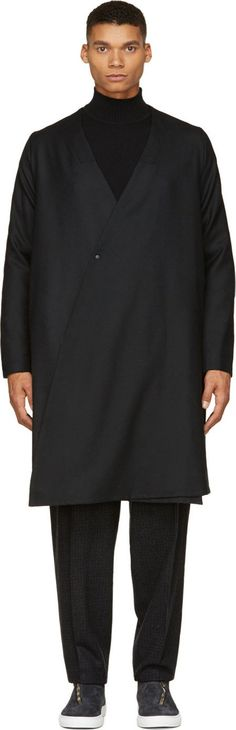 Sasquatchfabrix - Black Collarless Open Haneri Coat