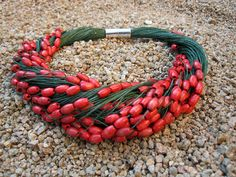 Necklace green natural linen red wood beads knots Magnetic Clasp Eco Friendly Mediterranean Style Handmade