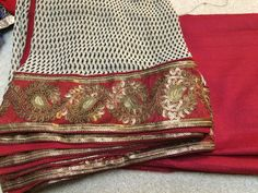 Chiffon designer dupatta with plain red Manipuri silk suit material Salwar kameez