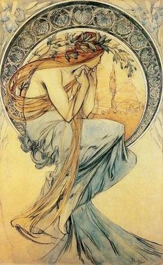 Mucha's distinctive Art Nouveau posters and advertisements are notable for their creative use of color palettes, intricate gilding, and lettering.