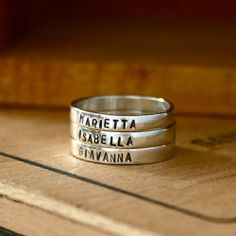 Custom stamped Mothers rings.  I need one of these for every grandchild...