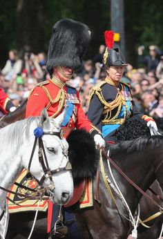 thebritishnobility:  Prince Charles, Prince of Wales and Anne,The Princess Royal on horseback during the annual Trooping the Colour Ceremony at Buckingham Palace on June 15, 2013 in London, England.
