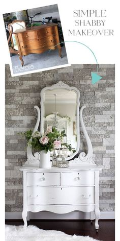Simple Shabby Dresser makeover with DIY chalk paint from confessionsofaser. Do It Yourself Furniture, Diy Furniture Redo, Refurbished Furniture, Repurposed Furniture, Home Decor Furniture, Furniture Ideas, Cottage Furniture, Pallet Furniture, Furniture Movers