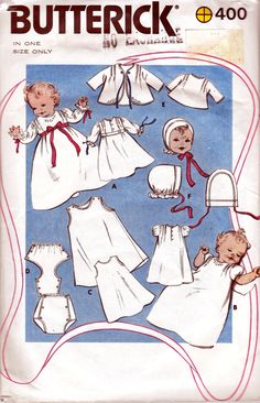 80s Vintage Baby Layette Pattern Butterick 400 One Size. $10.00, via Etsy.