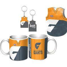 Greater Western Sydney Giants Guernsey Gift Pack.  GWS Giants Guernsey Giftpack This Great Pack Features: Guernsey Design Mug, Keyring, & Stubby Cooler.  To see the full range of AFL merch, visit www.shop.afl.com.au