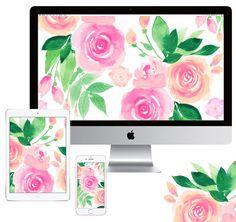 Watercolor floral blooms digital device wallpaper downloads by artist Michelle Mospens. www.mospensstudio.com