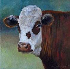 Animal Cow Painting  Matilda the Hereford Cow  by ChatterBoxArt
