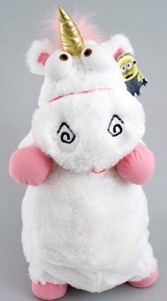 "NEW-Despicable me fluffy unicorn plush pillow toy doll 22"" with tag"