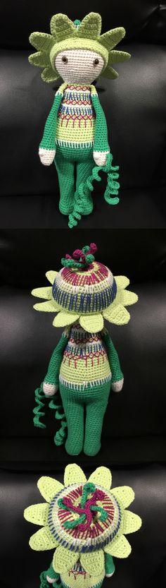 Amigurumi flower doll Passionflower Paz made by Estrella R M - crochet pattern by Zabbez