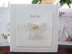 tattered lace Bow, white card