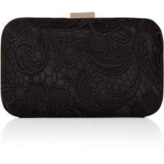 Accessorize Lace Overlay Hardcase Clutch Bag (3.760 RUB) ❤ liked on Polyvore featuring bags, handbags, clutches, borse, purses, black handbags, hard clutch, black purse, clasp purse and black lace purse