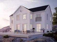 """Ajattelin jakaa teillekin nämä 3d-kuvat tulevasta kodistamme. Näistä näkee mielestäni paremmin sen fiiliksen, jota kotiin haimme. Symmetriset ikkunat, lyhyet räystäät ja ullakon pyöreä ikkuna ovat näitä tärkeitä yksityiskohtia terassin lisäksi, jotka tuovat taloon """"sitä meille oikeaa"""" fiilistä."""