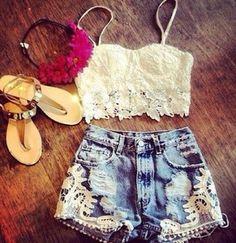 shirt crop top bandeau bralette lace shorts high waisted short floral flower crown headband summer hippie