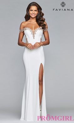 Shop long off-the-shoulder Faviana prom dresses at Simply Dresses. Long designer sweetheart dresses with sheer backs, illusion insets and embroidered bodices. Formal Evening Dresses, Formal Gowns, Evening Gowns, Faviana Dresses, Sexy Dresses, Homecoming Dresses, Wedding Dresses, Party Dresses, Occasion Dresses
