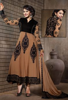 #Black,#Brown #Georgette,#Shantoon #Anarkali #Salwar #Suit #nikvik  #usa #designer #australia #canada #freeshipping #brownkamiz