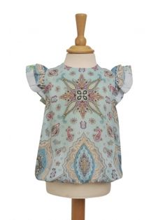 Adorable kids blouse made from prestigious Vintage Silk Scarves. Nixie Clothing's sustainable fashion is  truly unique.