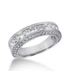 950 Platinum Diamond Anniversary Wedding Ring 17 Princess Cut, 46 Round Brilliant Diamonds 2.16ctw 166WR677PLT
