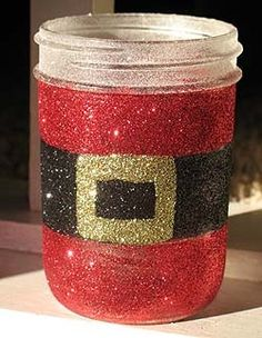 Mason jar decor, Santa. I would probably do the glue on the inside of the jar so it doesn't rub off.
