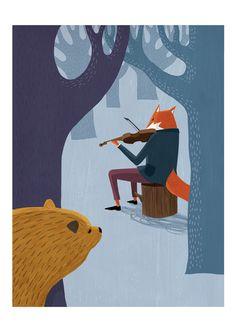 Fox, Violin & Bear by Warwick Kay, via Behance