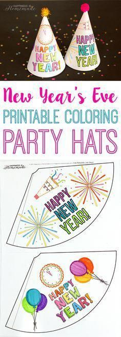 10 New Year's Eve Activities for Kids - 10 awesome New Year's Eve crafts and activities for kids – the entire family is going to want to join in on the fun! Coloring party hats, a printable word search, DIY party poppers, confetti launchers, glitter wands New Years Hat, Kids New Years Eve, New Years Eve Games, New Years Eve Party, New Years Eve Pictures, New Years Eve Quotes, New Year's Eve Activities, Holiday Activities, Children Activities