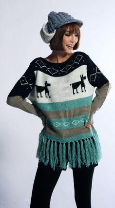 Hot Women's Winter Crew Neck Christmas Xmas Tassel Deer Knitting Sweater CL4801
