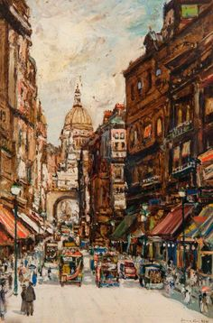 Ludgate Hill, London by James Kay Old London, London Art, London Street, Paintings I Love, Your Paintings, Landscape Paintings, Landscapes, London Painting, Richmond Upon Thames