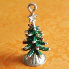 Vintage-Enamel-3D-CHRISTMAS-XMAS-TREE-ORNAMENTS-Sterling-Silver-Holiday-Charm