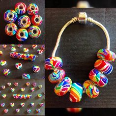 So many rainbow charms #polymer #polymerclay #rainbow #bracelet #beads #handmade #heart #charm #pandora #necklace #fimo #red #orange #yellow #green #blue #purple #pink #white