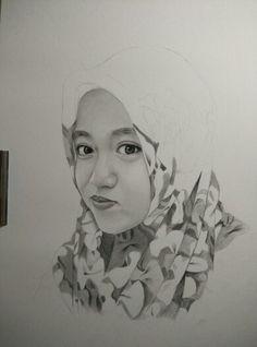 Proses 70% pesanan jasa lukis wajah dari Surabaya Order by http://lukiswajah.com/   #jasalukiswajah #jasalukisanwah #jasasketsapensil #surabaya #drawing #pencil #illustration #girl #women #flowers #lukisan #wanita #hijab