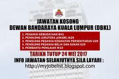 Jawatan Kosong Kerajaan Terkini di DBKL - 24 Mei 2017  Jawatan kosong kerajaan terkini di Dewan Bandaraya Kuala Lumpur (DBKL) Mei 2017 | Jawatan kosong terkini di Dewan Bandaraya Kuala Lumpur (DBKL) Mei 2017. Permohonan adalah dipelawa daripada warganegara Malaysia yang berkelayakan untuk mengisi kekosongan jawatan kosong terkini di Dewan Bandaraya Kuala Lumpur (DBKL) sebagai :1. PEGAWAI KEBUDAYAAN B412. PENOLONG JURUTERA (AWAM) JA293. PENOLONG PEGAWAI KESIHATAN PERSEKITARAN U294. PENOLONG…