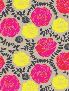 Neutrals & Brights Floral Pattern (print & pattern: DESIGNER - patricia capella)