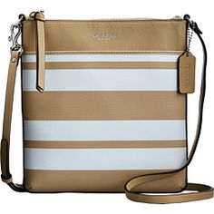 WHOLESALE COACH BAGS - Bleecker Striped Coated Canvas North/South Swingpack http://www.ashpants.com/wholesale-coach-bags  The popular Coach Swingpack lightens up for the season in crisply striped cotton canvas. Perfect for weekends, errands and travel, the zip-top design is trimmed in leather and fitted with an adjustable strap for shoulder or crossbody wear.